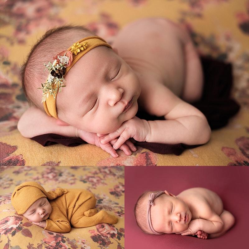 newborn girl on yellow floral backdrop