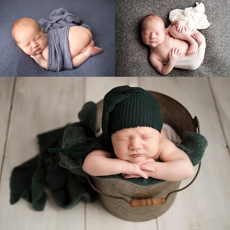 Macomb Newborn Photographer baby boy photos.  Baby boy in bucket.  Baby boy on blue