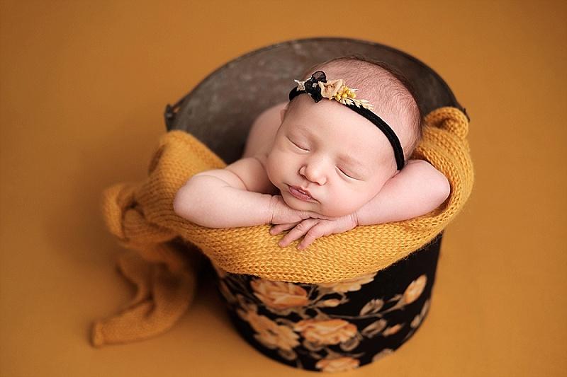 macomb newborn photographer baby girl in yellow/black bucket pose