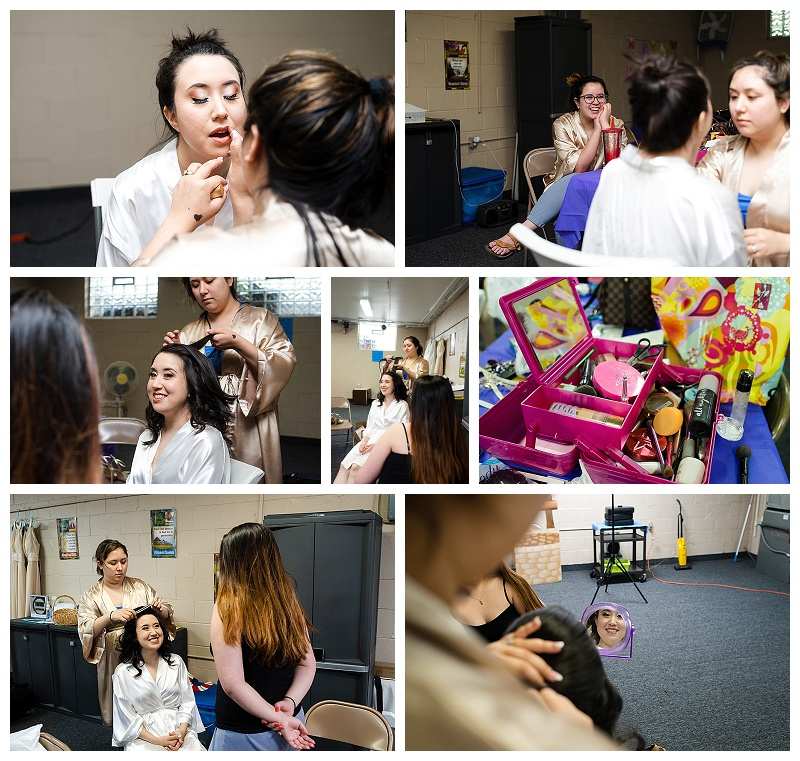wedding photos of girls getting ready with bride
