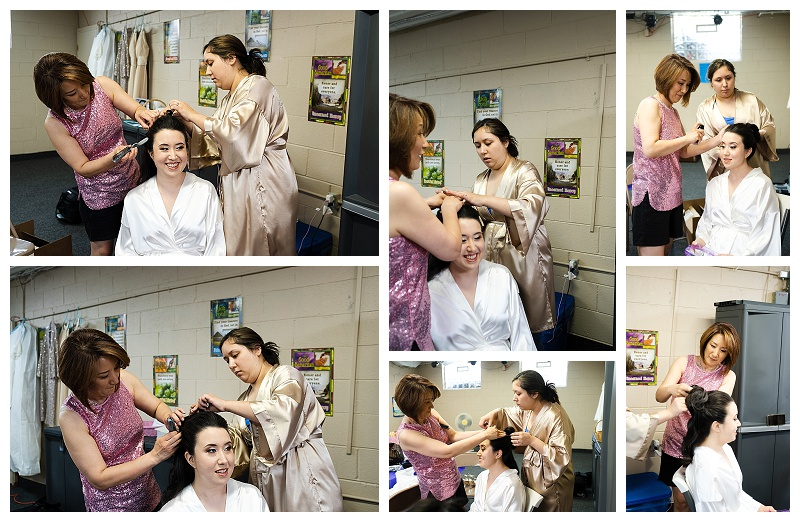 wedding photos of bride getting hair done by mom and sister