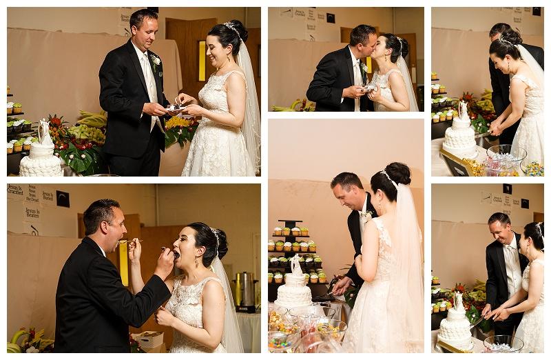 wedding photos cutting cake