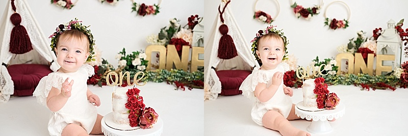 red and gold girl cake smash session