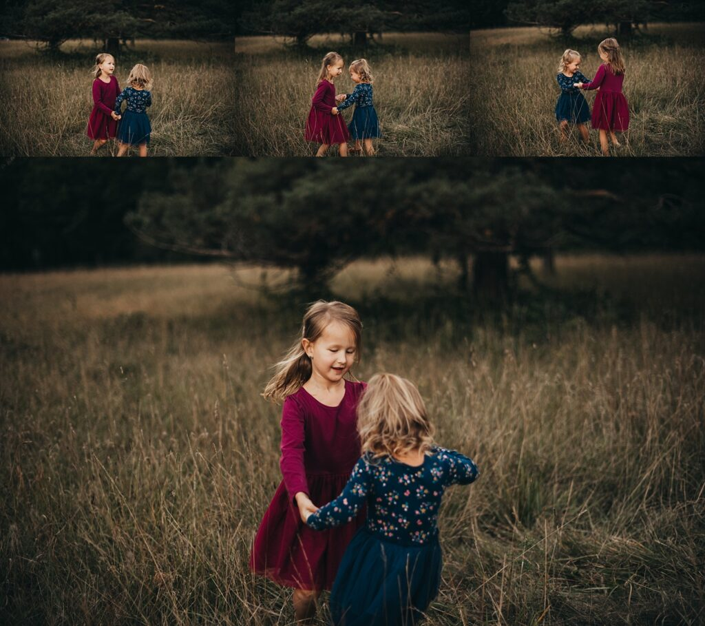 girls playing in field