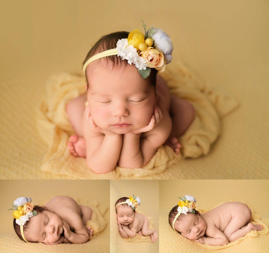 baby girl on yellow