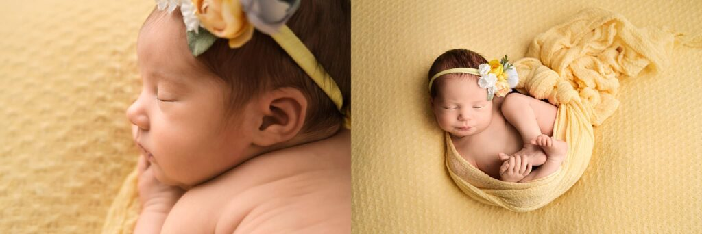 newborn girl on yellow
