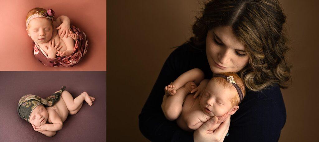 newborn snuggling with mom