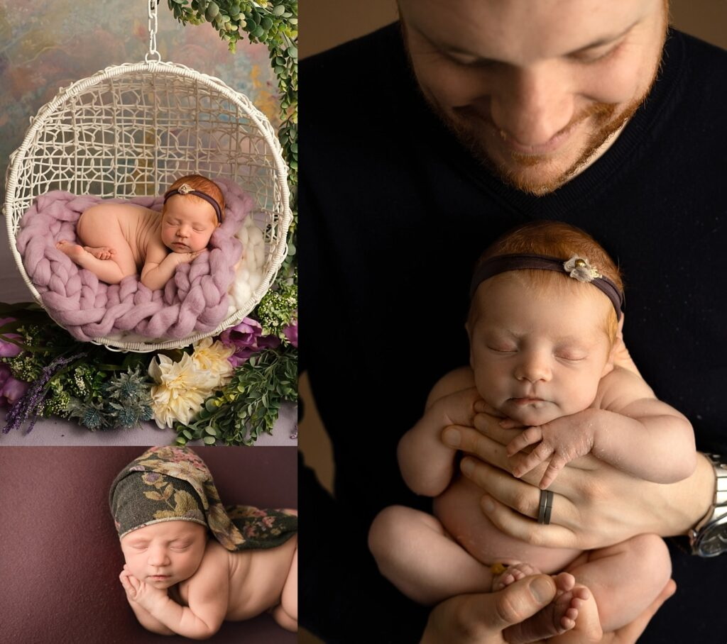 newborn girl posed with dad