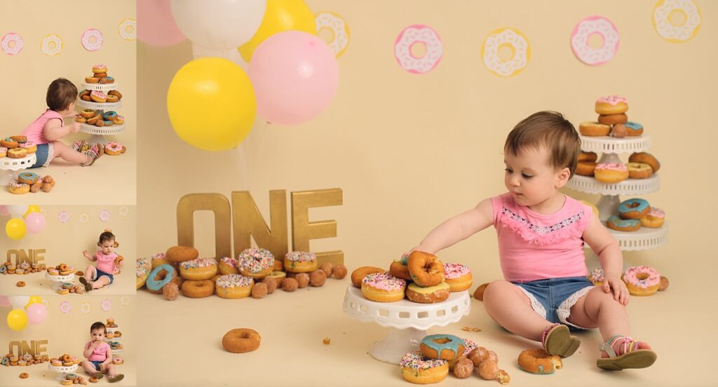 first birthday photos with donuts