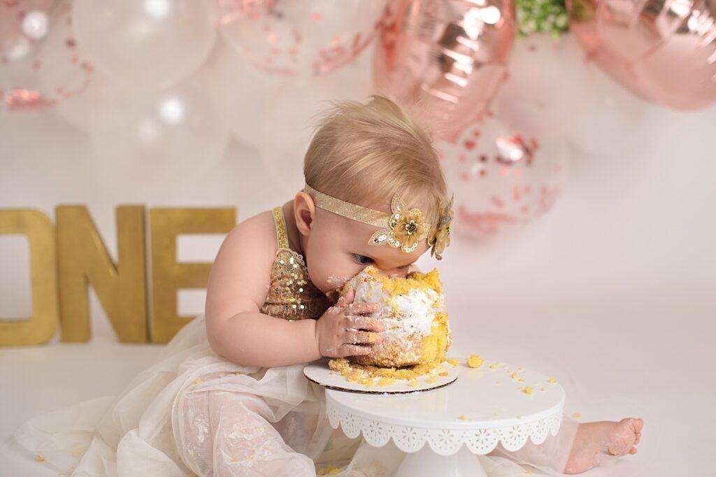 rose gold cake smash girl