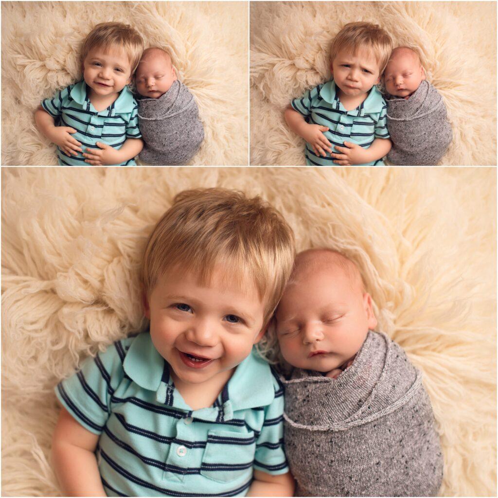 brothers, 2 year old boy and newborn boy