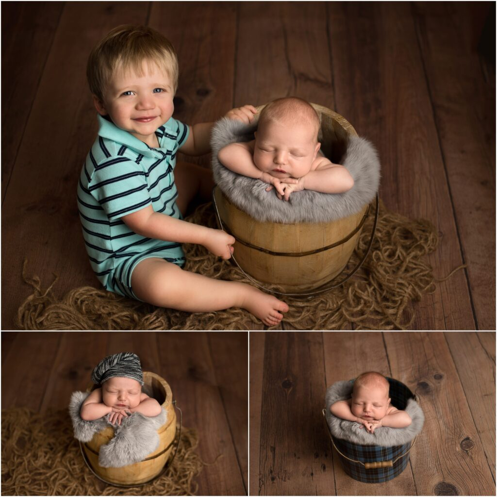 Brothers, 2 year old boy with newborn brother