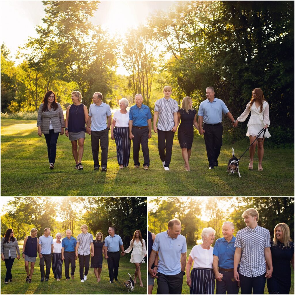 extended family session walking family