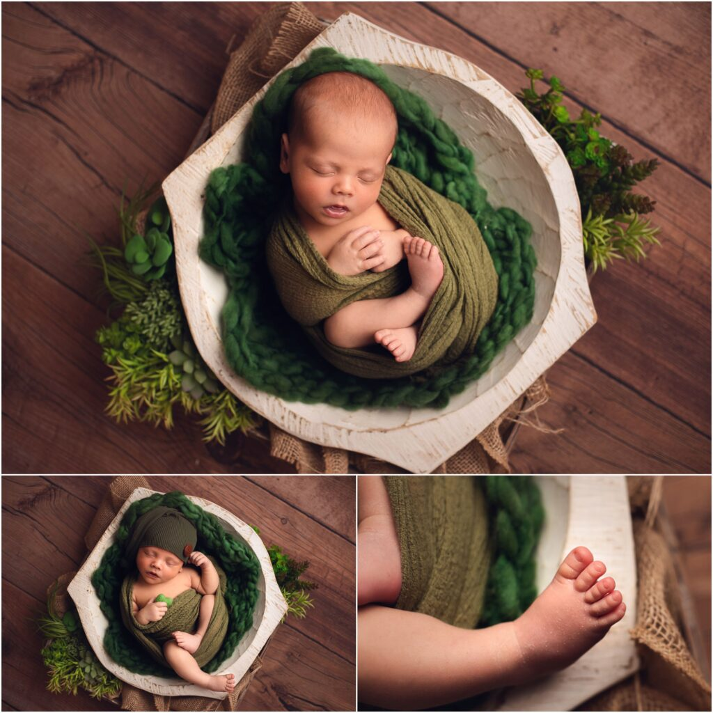 peptite newborn session baby boy wrapped in green