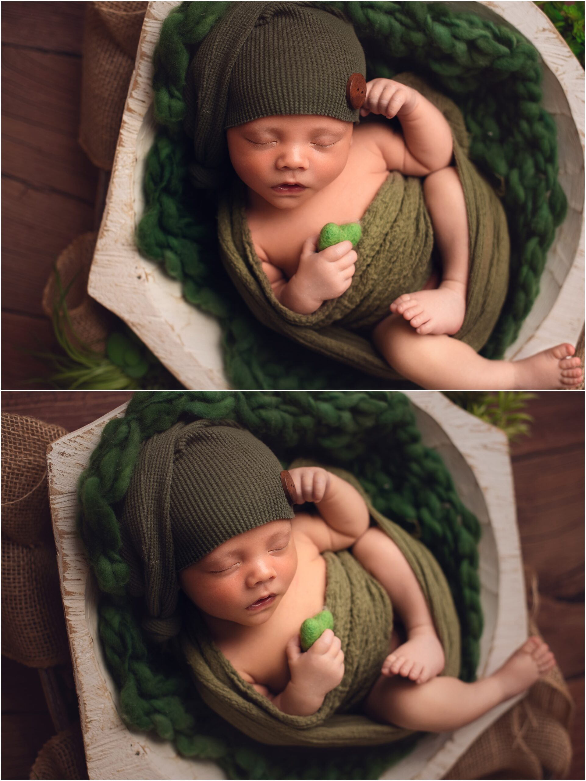 petite newborn session baby boy wrapped in green