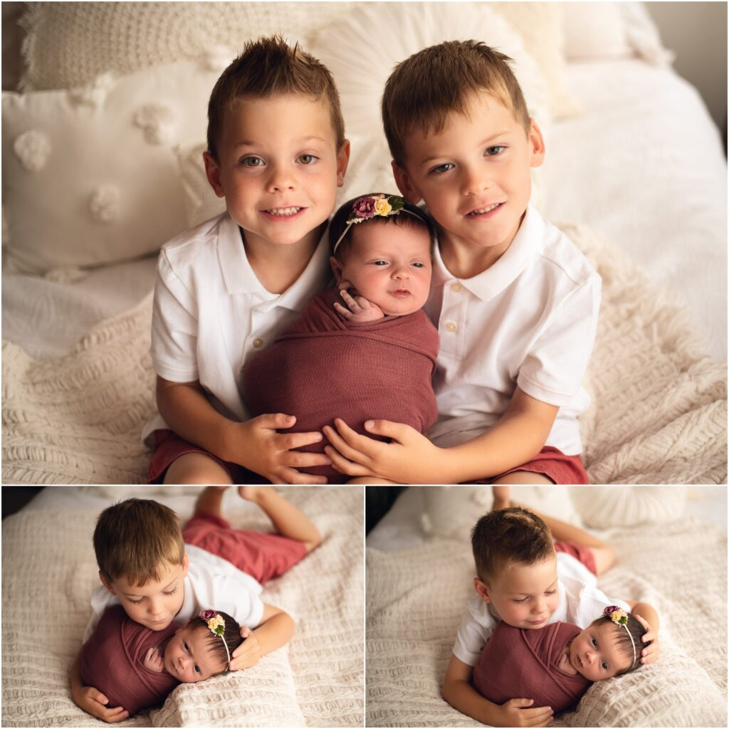 brothers and newborn baby girl