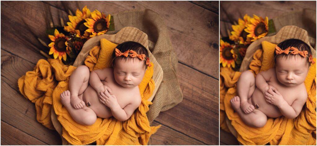 newborn girl with sunflowers