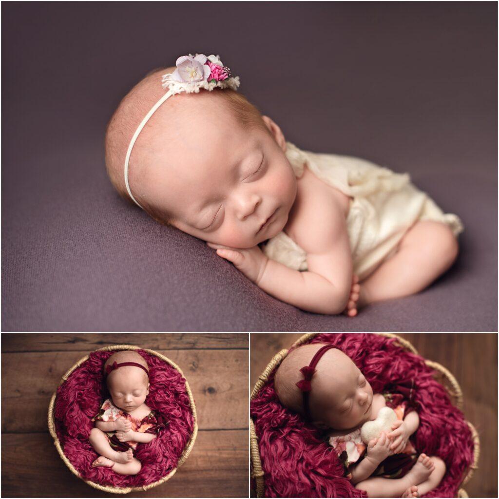 newborn girl on purple backdrop. newborn girl in maroon bowl with heart snuggly