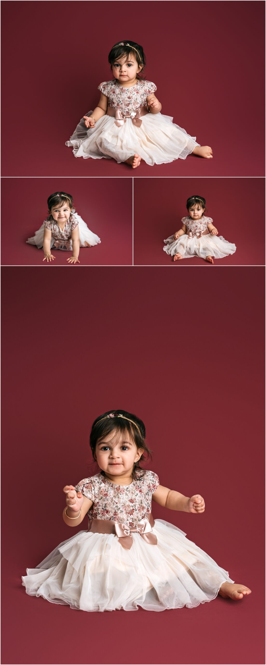 one year old girl on maroon backdrop