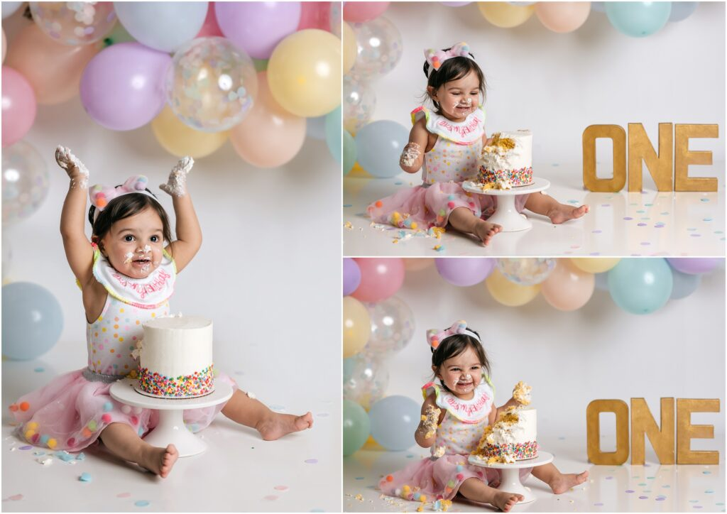 excited girl for cake smash session