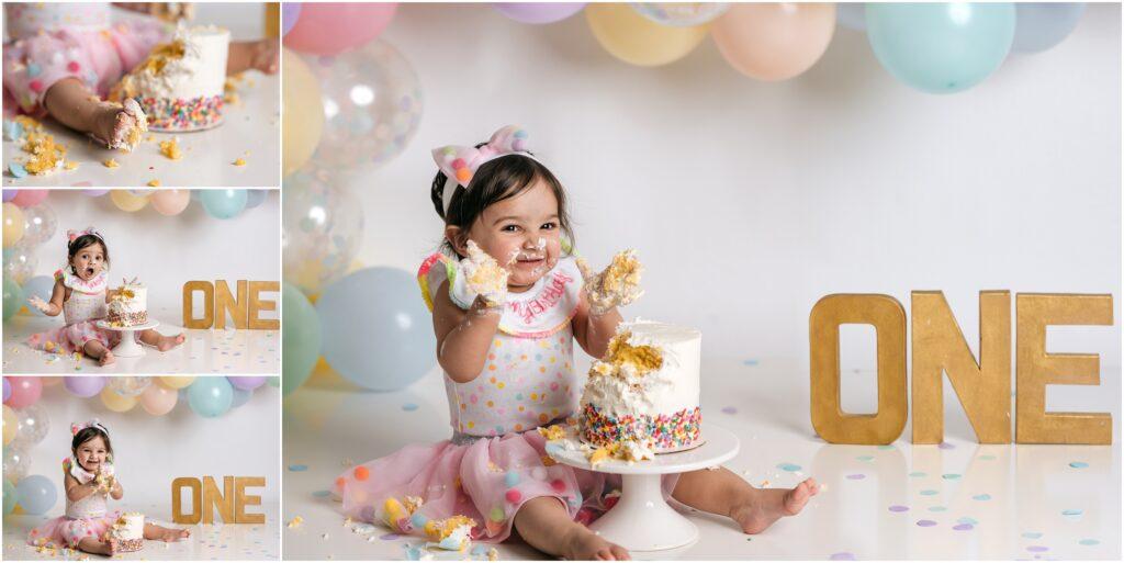 girly pastel balloons cake smash session