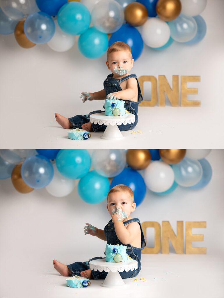boy eating cake at cake smash