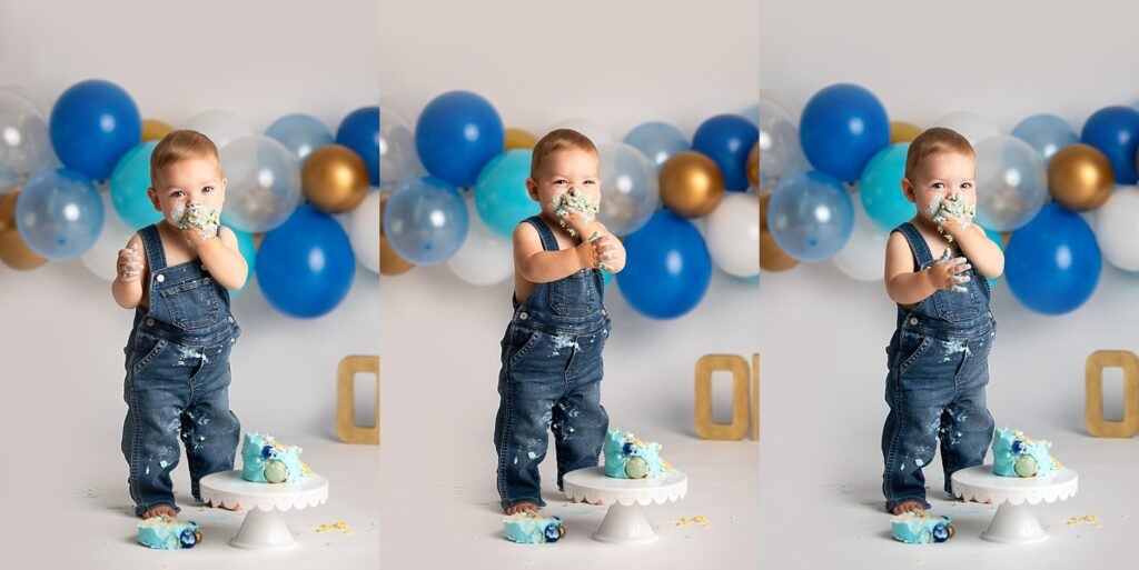 boy in overalls standing at cake smash session