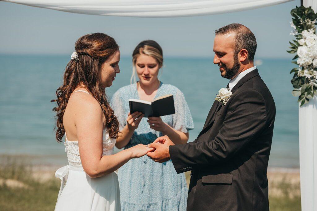 bride and groom say vows
