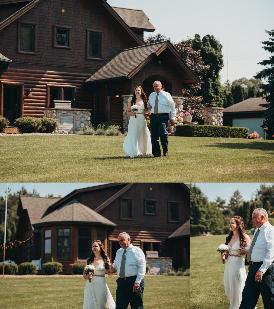 port Sanilac wedding father walking bride down aisle