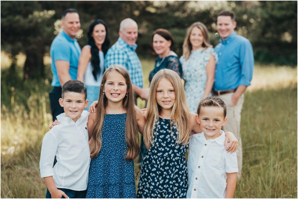 family photos, kids in focus