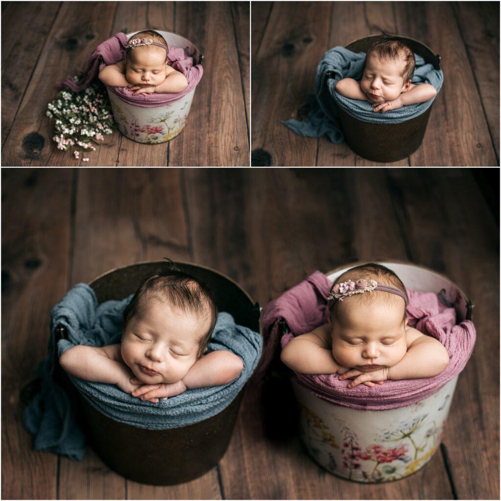 newborn twins in buckets