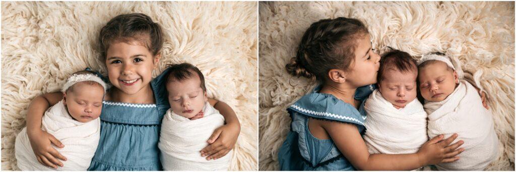 newborn twins with big sister